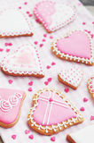 Pastel colored sugar cookies for valentines day Royalty Free Stock Photos