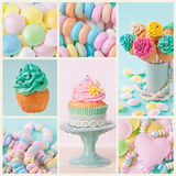 Pastel colored sweets. Collage of photos with pastel colored cupcakes and meringue royalty free stock photo