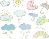 Pastel-colored weather icons Stock Photos