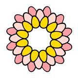 Pastel colored wreath with eggs for easter hand drawn illustration royalty free illustration