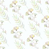 Pastel colorful botanical seamless pattern. Hand Royalty Free Stock Photo