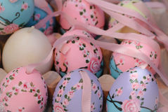 Pastel colorful eastereggs spring holiday ornament decoration celebration season craft Royalty Free Stock Images
