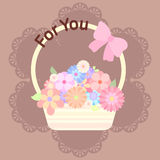Pastel colorful flowers in basket with ribbon and lace backgroun. D Stock Photography