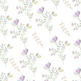 Pastel colorful flowers and brunch seamless nature. Pastel colorful flowers and brunch seamless pattern Stock Photos