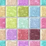 Pastel colorful spectrum marble stony mosaic seamless background with gray grout - regular squares Stock Photography