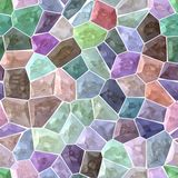 Pastel colorful spectrum marble stony mosaic seamless background with white  grout Stock Image