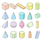 Pastel Colorfull objects  on white background. Royalty Free Stock Image