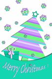 Pastel colors card design with christmas tree. Festive card design with christmas tree and gift box in pastel colors Royalty Free Stock Photography