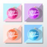 Pastel Colors Gentle Christmas Greeting Cards, Posters, Banners or Party Invitation Template Set. Vector Realistic Xmas. Ball with Soft Shadows and Lettering vector illustration