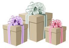 Pastel colors gift boxes Royalty Free Stock Photography