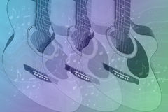 Pastel Colors with guitars and Music Stock Images