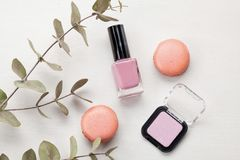 Pastel colors nail polish. Beauty blogger concept. Nail polish of various pastel colors. Mockup or Beauty blogger concept stock photography
