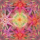COLORFUL STARS MANDALA, CENTRAL FRACTAL FLOWER, PASTEL COLORS PALLET stock illustration