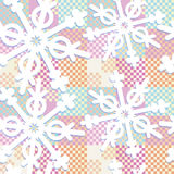 Pastel colors patchwork with geometric snowflakes Stock Photography