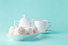Pastel colors pink and white marshmallows Royalty Free Stock Photo