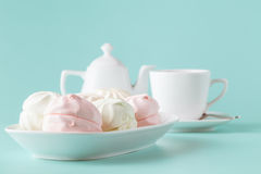 Pastel colors pink and white marshmallows Stock Photo