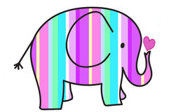 Pastel colors stripes elephant Royalty Free Stock Image