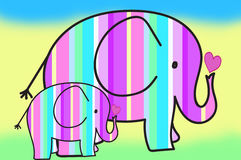 Pastel colors stripes elephants Royalty Free Stock Photo