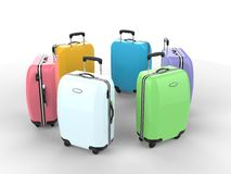 Pastel colors suitcases Royalty Free Stock Photography