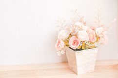 Pastel Coloured Artificial Pink Rose Wedding Bridal Bouquet in f Stock Images