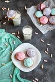 Pastel coloured cupcakes for Easter Stock Photography