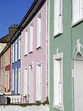 Pastel coloured housefronts. Charming residential frontages in Welsh coastal town royalty free stock photography