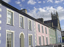 Pastel-coloured housefronts Stock Photo