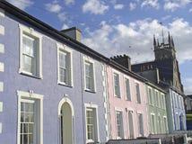 Pastel-coloured housefronts stock photo