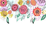 Pastel coloured spring flowers greeting card. Decorative colorful floral vector background Stock Photo