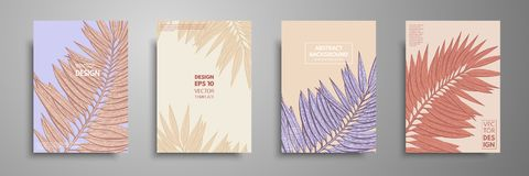 Pastel covers design set with tropical leaves. Modern covers template design. Applicable for design covers, presentation. Magazines, flyers, annual reports Royalty Free Stock Photos