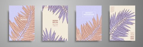 Pastel covers design set with tropical leaves. Modern covers template design. Applicable for design covers, presentation. Magazines, flyers, annual reports Stock Photo