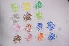 Pastel crayon in circle art work from kid. Child drawing a pastel crayon in circle stock images