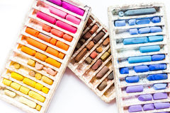 Pastel crayons isolated on white background Royalty Free Stock Photography