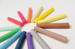 Pastel. Crayons laid out in a circle Royalty Free Stock Photos
