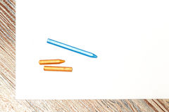 Pastel crayons on a sheet of paper Royalty Free Stock Images