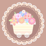 Pastel cute flower cart with lace background Stock Images