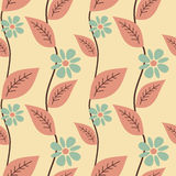 Pastel cute leaves and daisy flowers seamless pattern background illustration Stock Photos