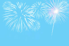 Pastel cyan colour background with Fireworks. Stock Photography