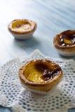 Pastel de Belem (Pastel de nata) Portuguese egg tart pastry. Pastel de Belem (Pastel de nata) - Portuguese egg tart pastry Stock Photo
