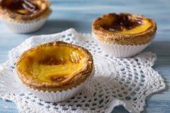 Pastel de Belem (Pastel de nata) Portuguese egg tart pastry Stock Images