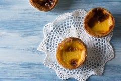 Pastel de Belem (Pastel de nata) Portuguese egg tart pastry. Pastel de Belem (Pastel de nata) - Portuguese egg tart pastry Stock Photos