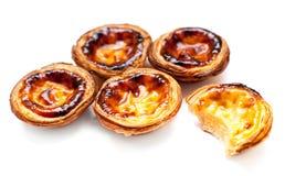 Pastel de Belem - Portuguese egg tarts pastry isolated on white Royalty Free Stock Image