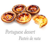 Pastel de Belem - Portuguese egg tarts pastry  on white Stock Photography