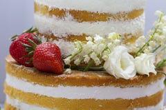 Pastel de bodas con el merengue y el primer de las fresas Fotografía de archivo libre de regalías