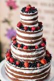 Pastel de bodas con gradas multi redondo con la esponja, la crema, el atasco y bayas en una base circular Arándanos frescos y Imagenes de archivo