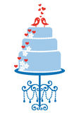 Pastel de bodas con los pájaros, vector ilustración del vector