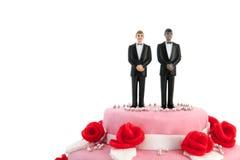 Pastel de bodas con los pares gay Foto de archivo libre de regalías