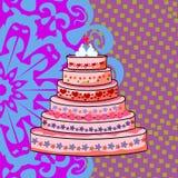 Pastel de bodas con un par de cisnes Foto de archivo libre de regalías