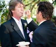 Pastel de bodas de alimentación Fotos de archivo libres de regalías