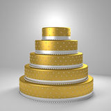 Pastel de bodas de oro Imágenes de archivo libres de regalías